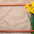 Bouquet of yellow daffodils on crumpled paper with space for text in a wooden frame — Stock Photo #73361799