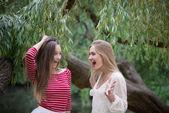 Szczęśliwy nastolatków przyjaciół śmiechem w parku — Zdjęcie stockowe