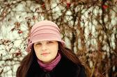 Portrait girl in hat — Stock Photo
