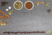 Collecion of several sorts of tea, spices and coffe beans with f — Stock Photo
