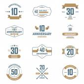 Vector set of anniversary signs, symbols. Ten, twenty, thirty, forty, fifty years jubilee design elements collection. — Stock Vector