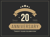 Twenty years anniversary celebration logotype. 20th anniversary logo. — Cтоковый вектор