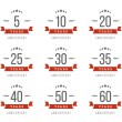 Vector set of anniversary signs, symbols. Five, ten, twenty, thirty, forty, fifty years jubilee design elements collection. — Stock Vector #79651670