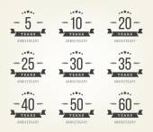 Vector set of anniversary signs, symbols. Five, ten, twenty, thirty, forty, fifty years jubilee design elements collection. — Stock Vector