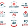 Set of anniversary signs, symbols. Ten, twenty, thirty, forty, fifty years jubilee design elements collection. — Stock Vector #79698558