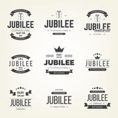 Vector set of jubilee signs, symbols. Design elements collection. — Stock Vector