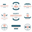 Vector set of anniversary signs, symbols. Ten, twenty, thirty, forty, fifty years jubilee design elements collection. — Stock Vector #79826004