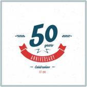 Fifty years anniversary celebration logotype. 50th anniversary logo. — Stock Vector