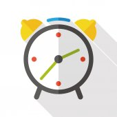 Alarm clock flat icon with long shadow — Stock Vector