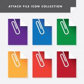 Attach file icon set collection — Stock Vector