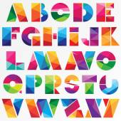 Multicolor low poly style alphabet — Stock Vector