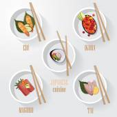 Japanese sushi delicacy food icons — Stock Vector
