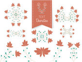 Set of hipster style floral ornaments — Stock Vector