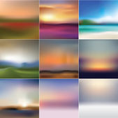 Collection of soft abstract background landscapes — Stock Vector
