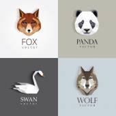 Low polygon style animal logos — Stock Vector
