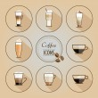Set of coffee types icons — Stock Vector #72573309
