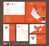 Business visual identity with red fox — Stock Vector