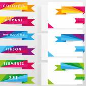 Colorful vibrant multicolored ribbon elements — Stock Vector
