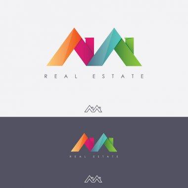 Multicolored real estate logo design