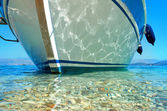 Summer sea view of the ship from below — Stock Photo