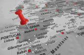 Red marker over Spain - Europe — Fotografia Stock