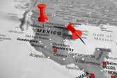 Red marker over Mexico — Stock Photo