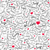 Vector seamless pattern with many words of love. — Stock Vector