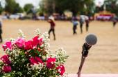 Vocal microphone in sharp focus against blurred audience — Stockfoto