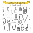 Vector set of manicure and pedicure doodle equipment. — Stock Vector #76230211