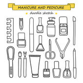 Vector set of manicure and pedicure doodle equipment. — ストックベクタ