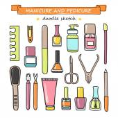 Vector set of manicure and pedicure doodle equipment. — Stock Vector
