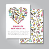Design de cartão de convite de dois lados com manicure e pedicure doente — Vetor de Stock