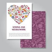 Design de cartão de convite de dois lados com costura e bordado illu — Vetor de Stock