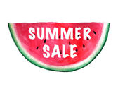 Summer Sale Banner. Vector watercolor illustration with juicy wa — Stock Vector