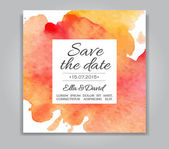 Vector wedding invitation card with watercolor background. — Stock Vector