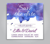 Vector wedding invitation card with watercolor background. — Vecteur