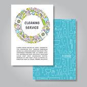 Twee zijden uitnodiging kaart ontwerp met het schoonmaken van apparatuur afb — Stockvector
