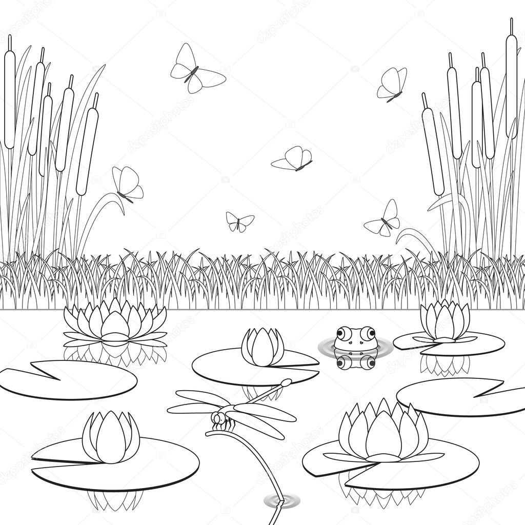 Flowers Floting In River Coloring Pages