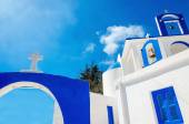 Greek church with iconic blue colors, Greece — Stock Photo