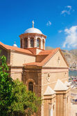 Greek church with classic red roof, Greece — Stock Photo