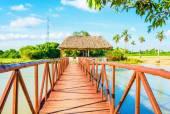 Wooden bridge on a beautiful lake, Vinales, Cuba — Stock Photo
