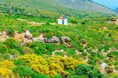 Traditional small Greek church and red roof Greece — Stock Photo