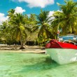 Boat on azure water — Stock Photo #72834579