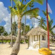 Exotic beach with hut and canoe on Caribbean — Stock Photo #72834969