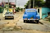 Classic American blue car — Stock Photo