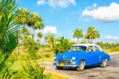 Blue classic American car — Stock Photo