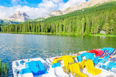 Colored pedalos on the Lake Misurina — Stock Photo
