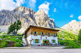 Refuge on the background of beautiful mountains — Stock Photo