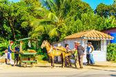 Main street of the Cuban  town — Stock Photo