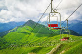 Cableway in the summer mountains — Stock Photo